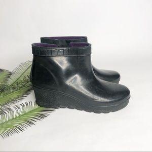 Sperry Top-Sider Ankle Rain Boot Wedge Black 8
